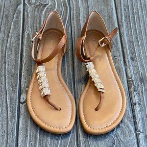Tan Embellished T Bar Closed Back Sandals NEW